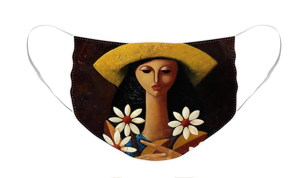Puerto Rico Face Mask featuring the painting Cinco Margaritas by Oscar Ortiz