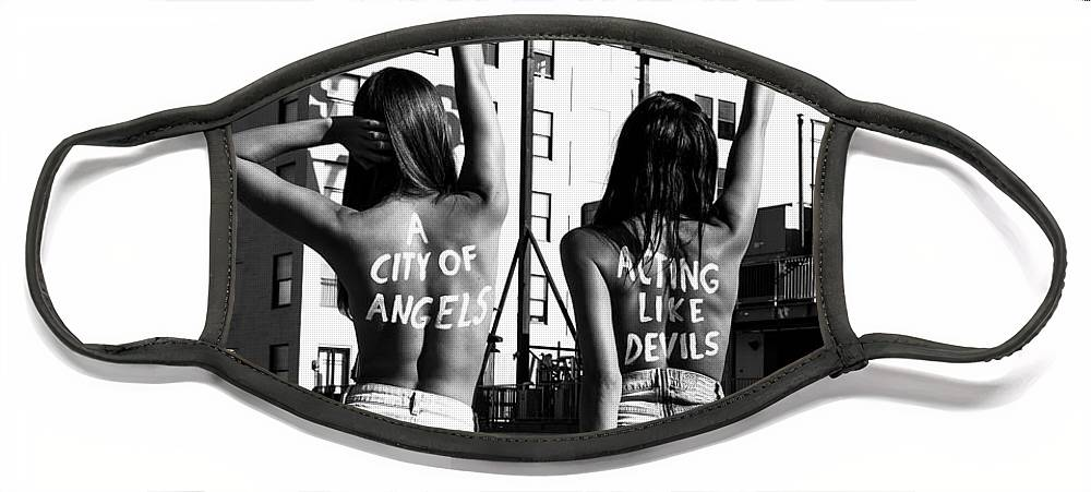 Face Mask featuring the photograph City of Angels by Brendan North