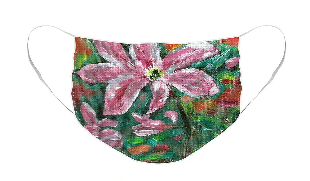 Clematis Painting Face Mask featuring the painting Clematis by Monica Resinger