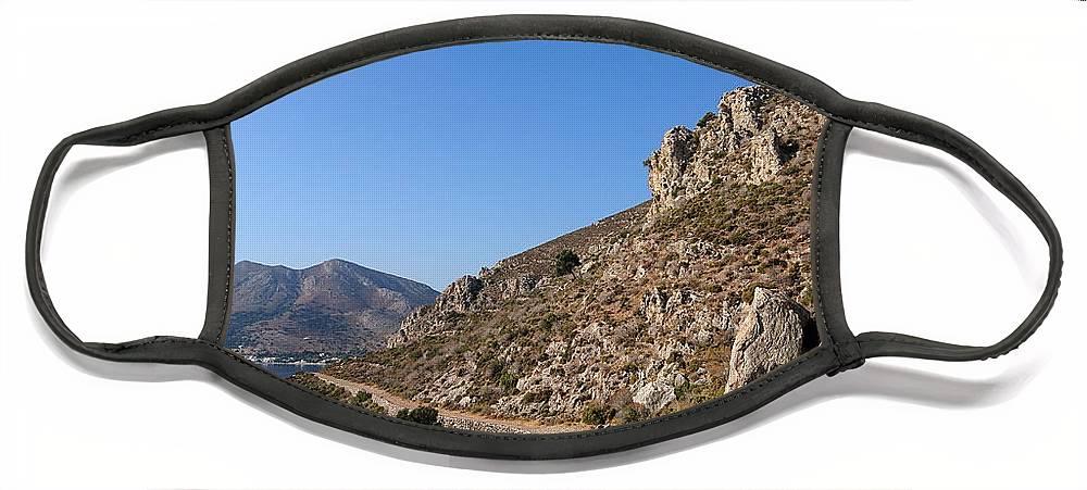 Tilos Face Mask featuring the photograph Coastal path, Tilos by Paul Boizot