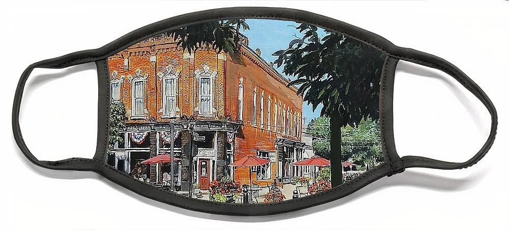 Holly Michigan Face Mask featuring the painting Coffee On The Corner by William Brody