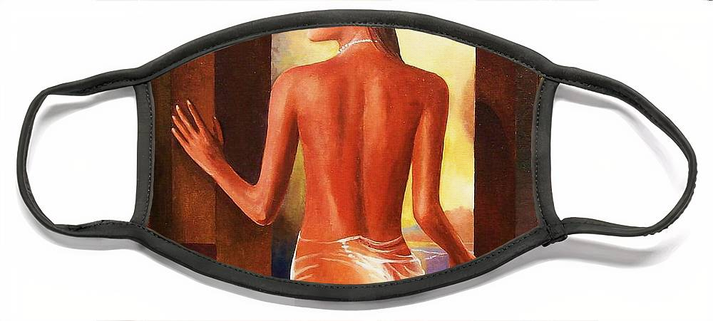 Nudes Face Mask featuring the painting Come To Me by Sinisa Saratlic