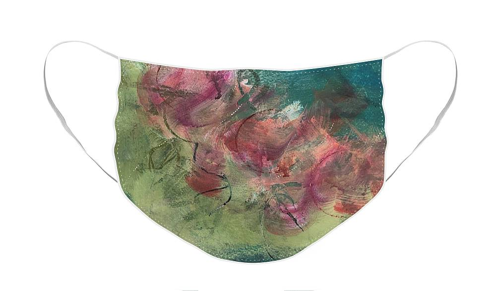 Abstract Face Mask featuring the painting Coming Up Roses by Carolyn Rhinebarger