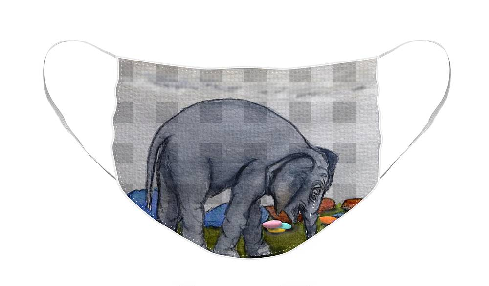 Elephant Face Mask featuring the painting Crying Little Elephant by Kelly Mills