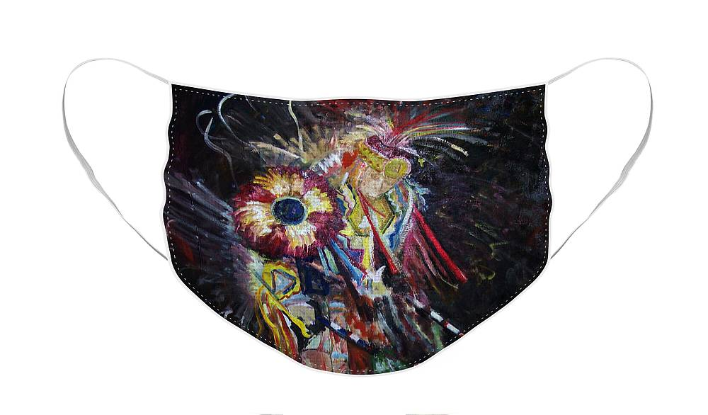 Native American Face Mask featuring the painting Dancer by CJ Rider