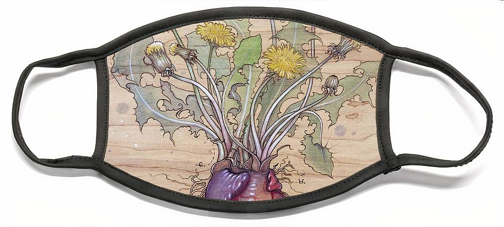 Dandelion Face Mask featuring the pyrography Dandelion Heart by Fay Helfer