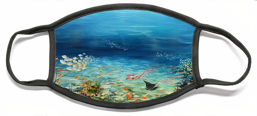 Ocean Painting Undersea Painting Coral Reef Painting Caribbean Painting Calypso Reef Painting Undersea Fishes Coral Reef Blue Sea Stingray Painting Tropical Reef Painting Tropical Painting Face Mask featuring the painting Deep Blue Dreaming by Karin Dawn Kelshall- Best