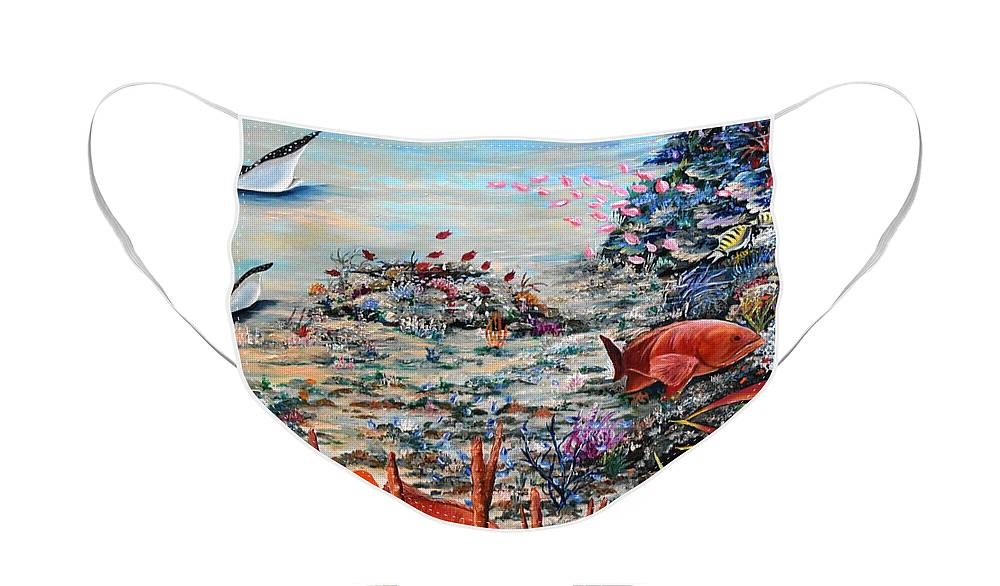 Caribbean Reef Face Mask featuring the painting Deep Reds by Karin Dawn Kelshall- Best