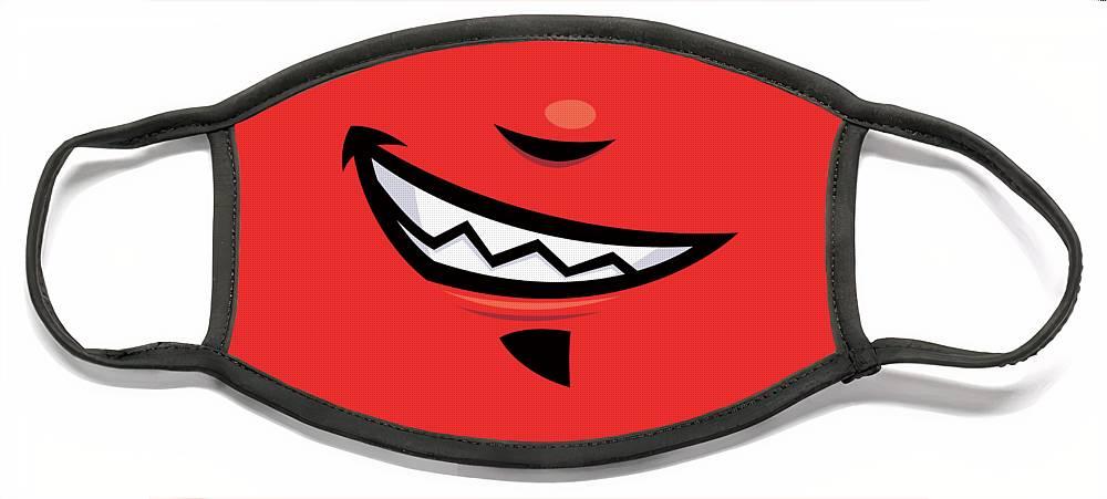 Grin Face Mask featuring the digital art Devilish Grin Cartoon Mouth by John Schwegel