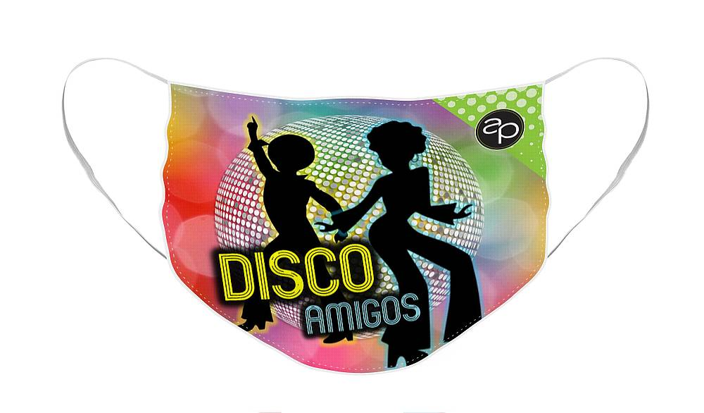 Art Of The Parade Society Face Mask featuring the digital art Disco Amigos by Art of the Parade Society