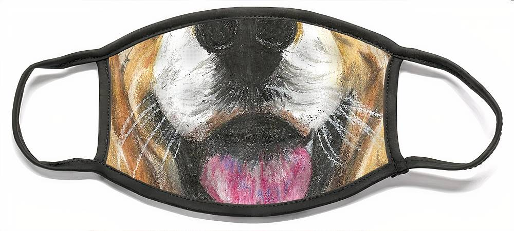 Dog Face Face Mask featuring the painting Dog Face by Monica Resinger