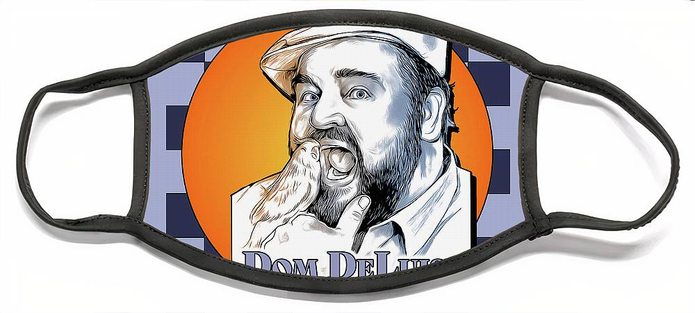 Dom Deluise Face Mask featuring the digital art Dom and the Bird by Greg Joens