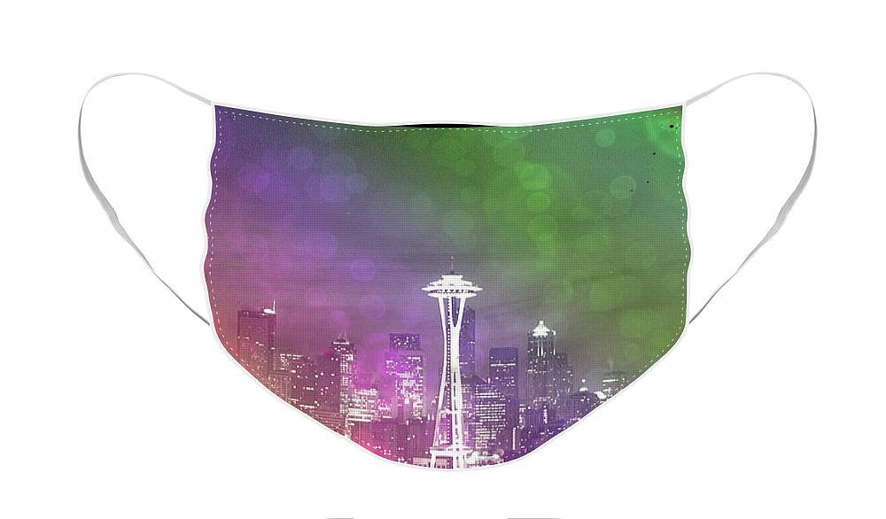 Downtown Seattle Rainbow Bokeh Face Mask