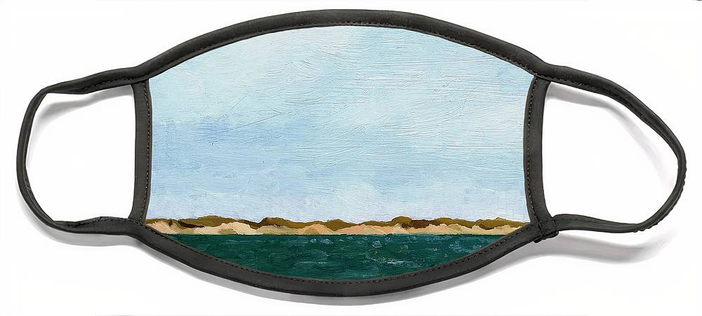 Lake Face Mask featuring the painting Dunes of Lake Michigan with Big Sky by Michelle Calkins