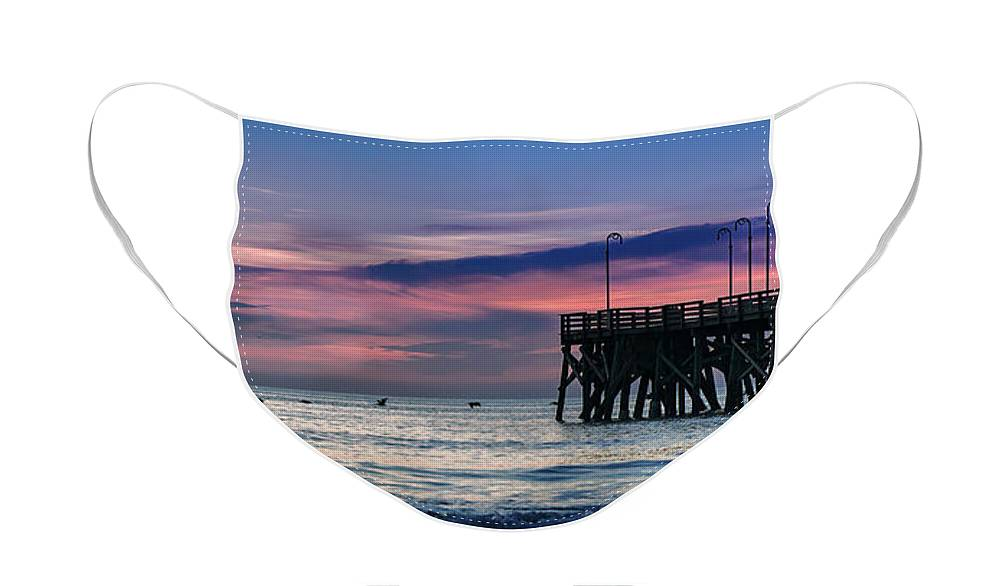 Pelicans Face Mask featuring the photograph Eighteen Pelicans Predawn by Steven Sparks