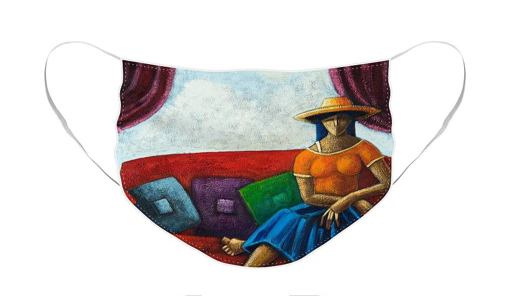 Puerto Rico Face Mask featuring the painting El Ultimo Romance Del Verano by Oscar Ortiz