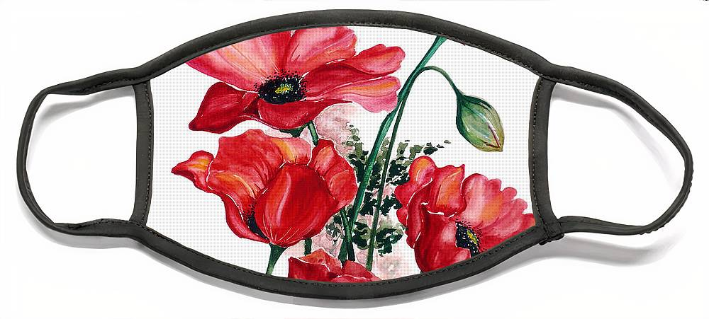 Original Watercolor Of English Field Poppies Painted On Arches Watercolor Paper Face Mask featuring the painting English Field Poppies. by Karin Dawn Kelshall- Best