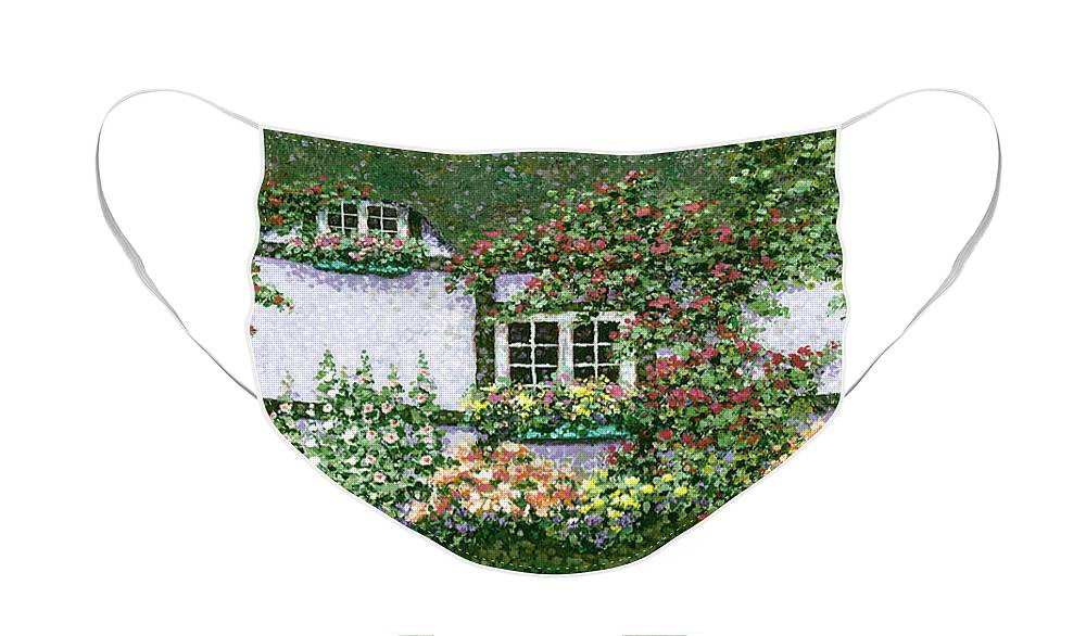 Garden Face Mask featuring the painting English Garden by Patrick Antonelle