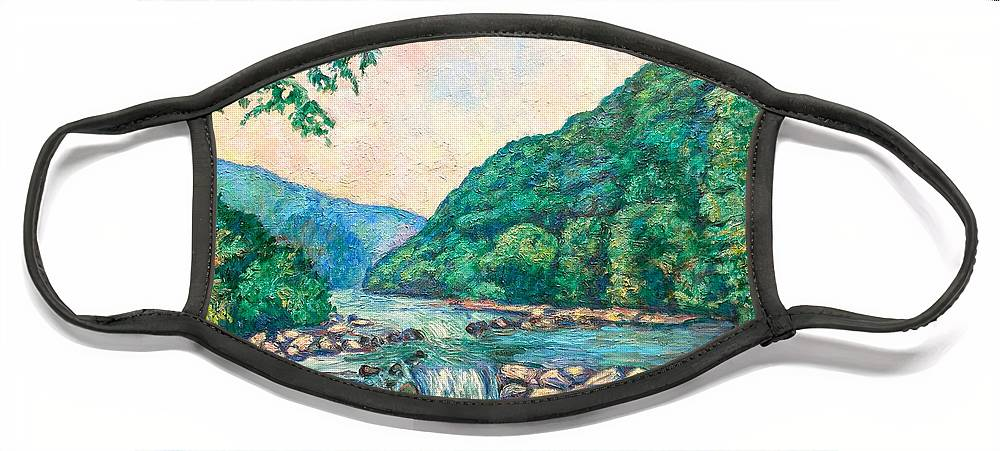 Landscape Face Mask featuring the painting Evening River Scene by Kendall Kessler