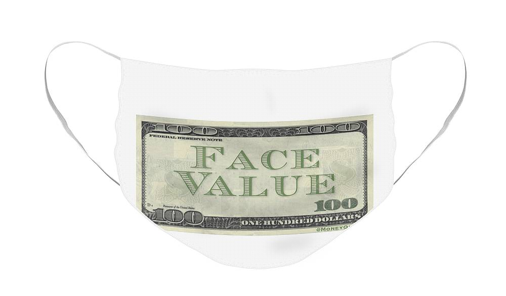 Face Value Face Mask featuring the digital art Face Value by Mike Valentine