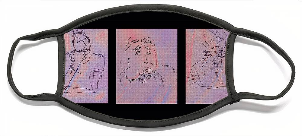 Face Mask featuring the mixed media Faces of Trivia Triptych by Steve Karol