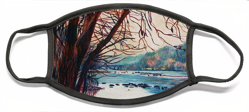New River Face Mask featuring the pastel Fall on the New River by Kendall Kessler