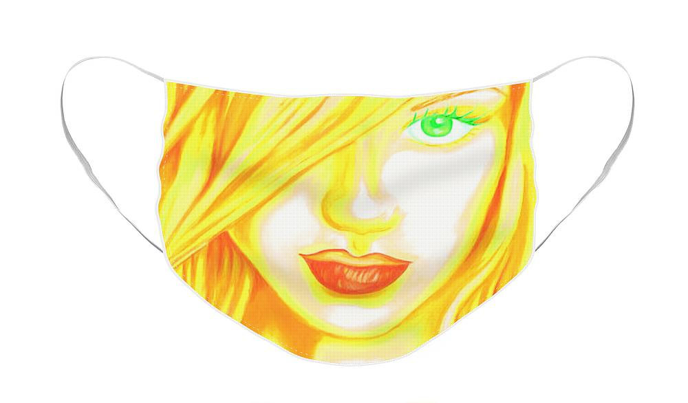 Woman Face Mask featuring the painting Femme Fatale by Holly Picano