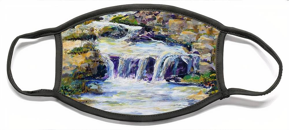 Los Angeles Face Mask featuring the painting Fern Dell Creek Noon by Randy Sprout