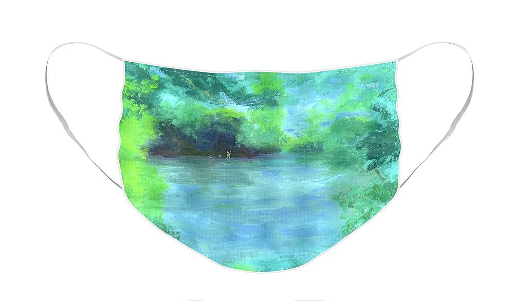 Fishing Face Mask featuring the painting Fishing on the Farmington by Kate Emery