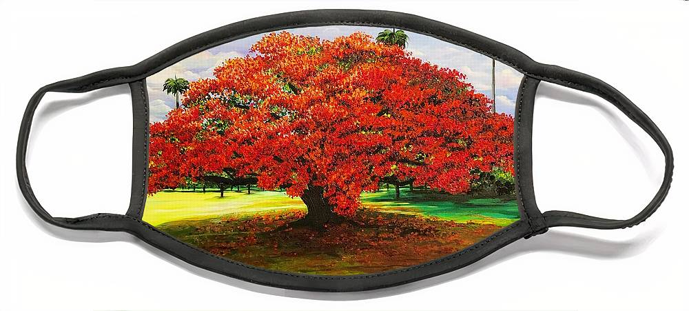 Flamboyant Tree Face Mask featuring the painting Flamboyant Ablaze by Karin Dawn Kelshall- Best