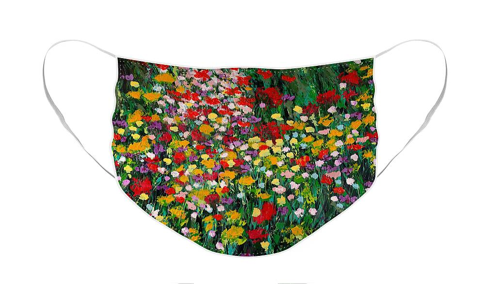 Landscape Face Mask featuring the painting Floral Eruption by Allan P Friedlander