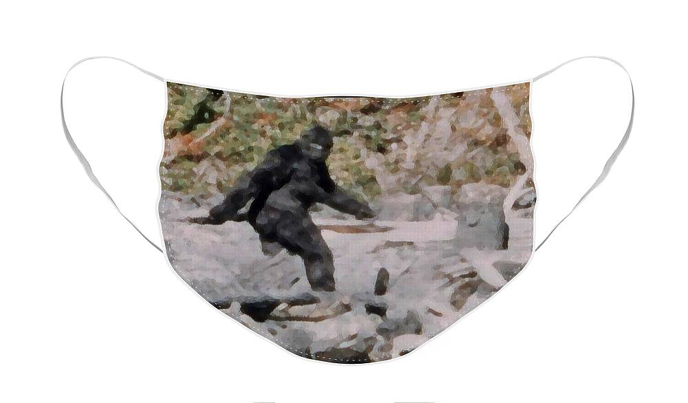 Bigfoot Face Mask featuring the digital art Bigfoot Frame 352 by Googz Co