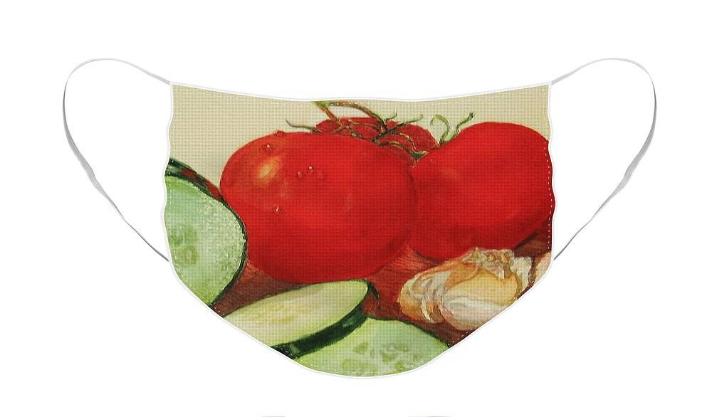 Still Life Face Mask featuring the painting Fresh Veggies by Karen Ilari