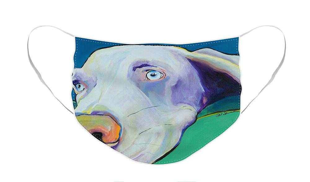 Pat Saunders-white Face Mask featuring the painting Fritz by Pat Saunders-White