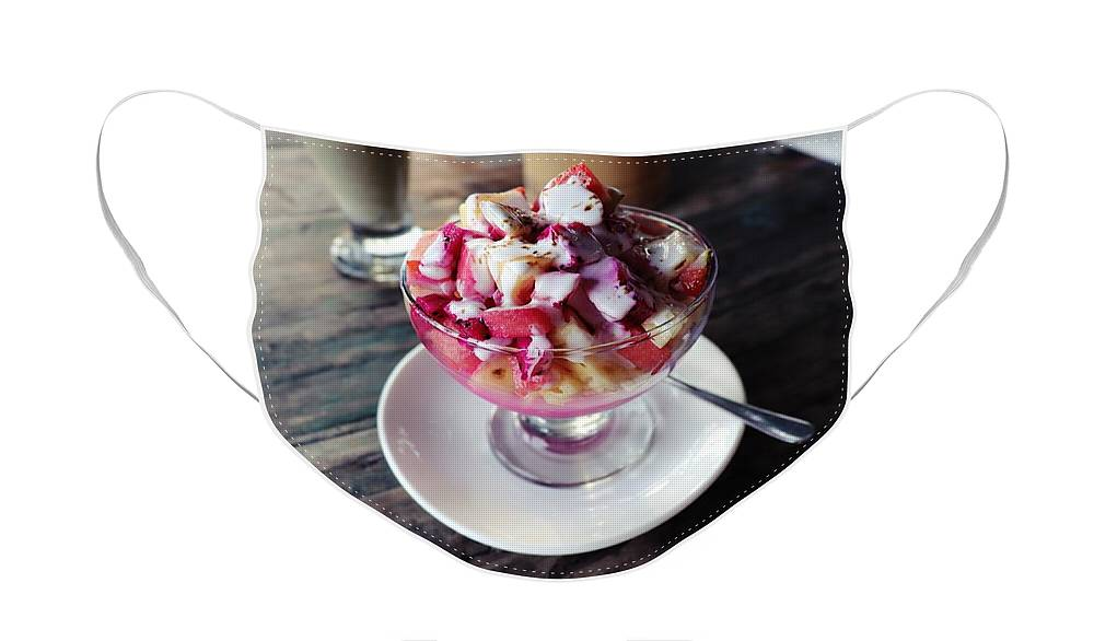 Fruit Face Mask featuring the digital art Fruity dessert with white cream by Worldvibes1