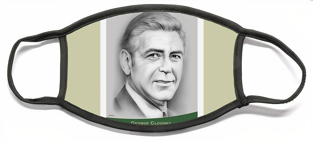 George Clooney Face Mask featuring the drawing George Clooney birthday by Greg Joens