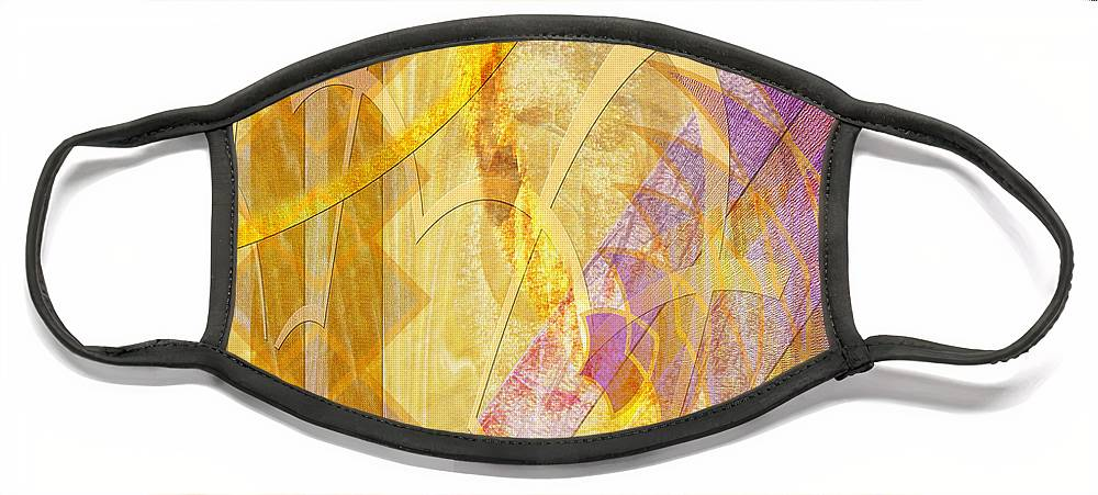 Gold Fusion Face Mask featuring the digital art Gold Fusion by Studio B Prints