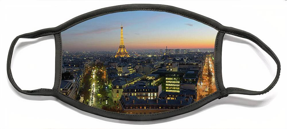 Eiffel Tower Sunset Face Mask featuring the photograph Good Morning Paris by Mike Brown