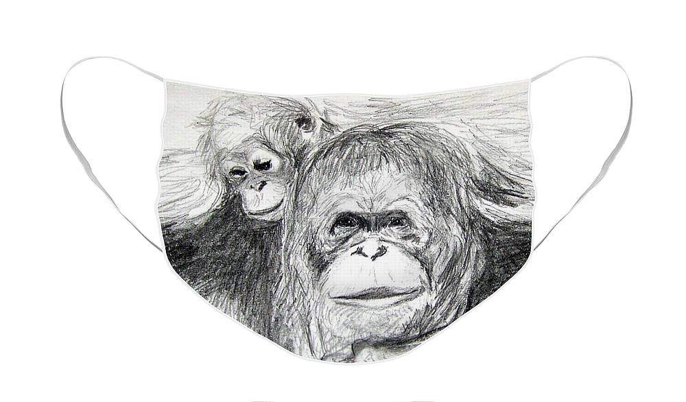 Wildlife Face Mask featuring the drawing Gorillas by Vallee Johnson