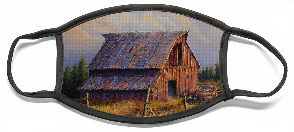 Barn Face Mask featuring the painting Grandpas Truck by Jerry McElroy