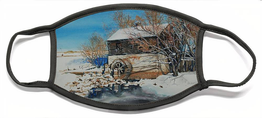 Mill Face Mask featuring the painting Grants Old Mill by Susan Moore