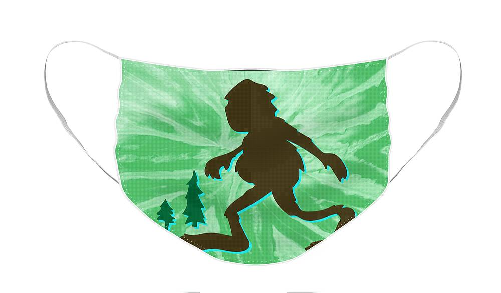 Bigfoot Face Mask featuring the digital art Groovy Bigfoot by Googz Co