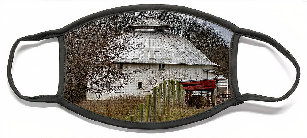 Landscape Face Mask featuring the photograph Gwinnup Round Barn #3 by Scott Smith