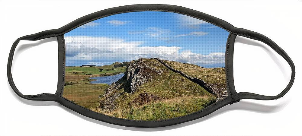 Landscape Face Mask featuring the photograph Hadrianswall by Pop