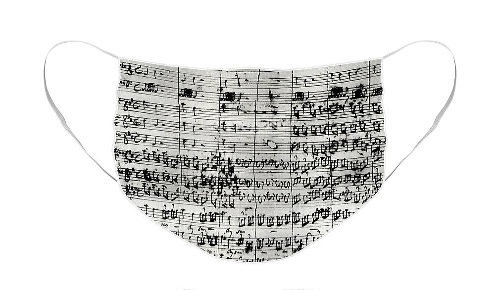 Bach Face Mask featuring the drawing Handwritten score for Mass in B minor by Johann Sebastian Bach