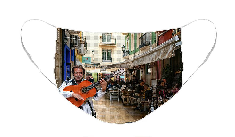 Street Face Mask featuring the photograph Happy Musician Alicante Spain by Steven Sparks