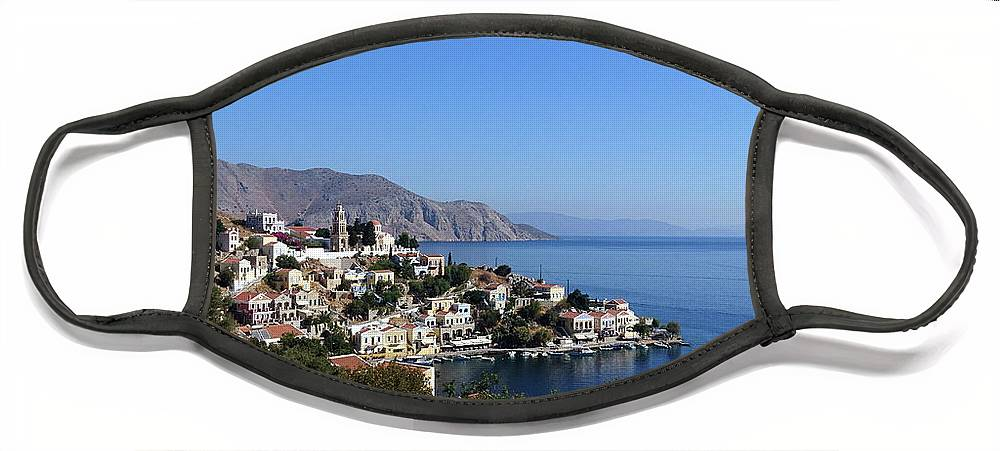 Symi Face Mask featuring the photograph Harani Bay, Symi by Paul Boizot