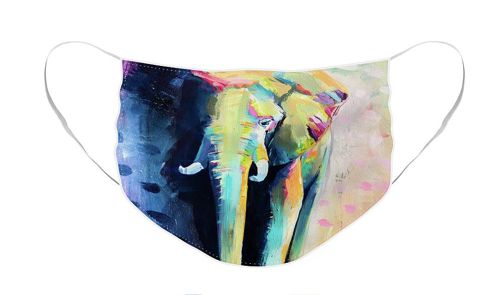 Elephant Face Mask featuring the painting Harold by LA Smith