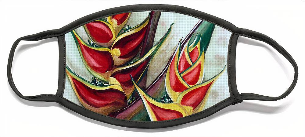 Caribbean Painting Flower Painting Floral Painting Heliconia Painting Original Watercolor Painting Of Heliconia Bloom  Trinidad And Tobago Painting Botanical Painting Face Mask featuring the painting Heliconia Tropicana Trinidad by Karin Dawn Kelshall- Best
