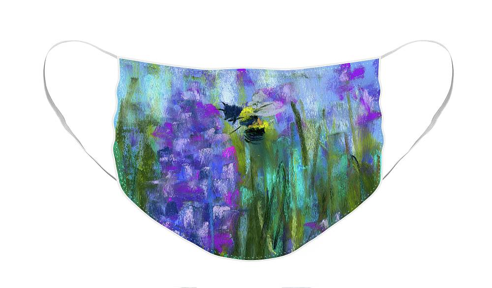 Bee's Face Mask featuring the painting Honey Bee power by Claudia Chappel